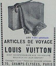 PUBLICITE LOUIS VUITTON LES ARTICLES DE VOYAGE BAGAGERIE LUXE DE 1924 FRENCH AD