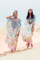 CAMILLA FRANKS SILK SWAROVSKI MY DUBAI DREAM ROUND NECK KAFTAN DRESS layby avail