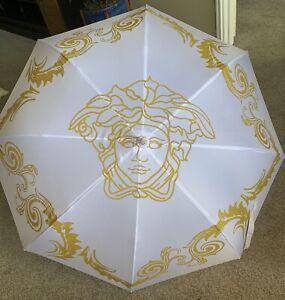 VERSACE MEDUSA Executive Limited Edition Large Umbrella White & Gold