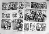 Old Antique Print 1889 British Squadron Ship War Mail Letters Newspapers 19th