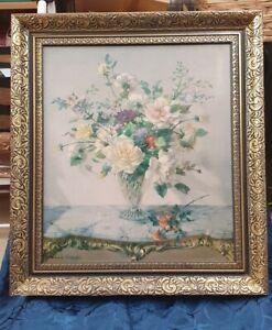 Vintage Vernon Ward Midsummer Fragrance Framed Print original lable
