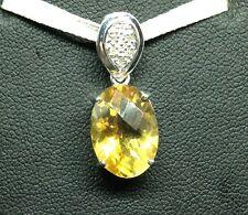 9K White Gold Oval Citrine and Diamond Pendant - BNIB Seller Ref 28