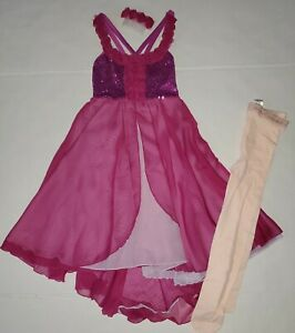 Revolution Dancewear Style 763 Size MC Orchid Dress,  Transition Tights Large...