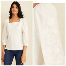 Ann Taylor Square Neck Eyelet Sleeve Blouse Top Womens Size Large New
