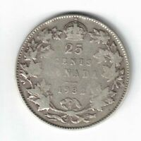 CANADA 1932 TWENTY FIVE CENTS QUARTER KING GEORGE V .800 SILVER COIN