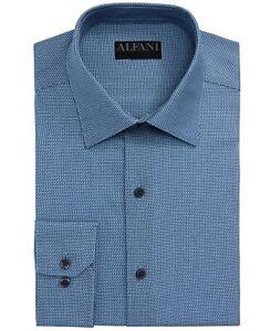 Alfani Mens Dress Shirt Blue Small S 14-14 1/2 Step Twill Athletic Fit $60 #328