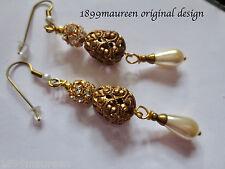 Edwardian earrings pearl crystal vintage drop Victorian Art Nouveau Art Deco
