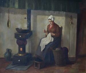 Lady Stitching a Shawl Quaint 19thC Interior Oil Painting H J van Langen c1920s