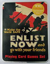 WW1 Vintage 2 Decks Of Playing Cards, Games Book, 5 Dice, Metal Tin Set 2 |BNMIB