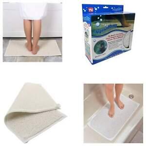 NEW NON SLIP AQUA CARPET BATHROOM MAT RUG SHOWER CLEAN FEET WATER HYDRO LOOFAH