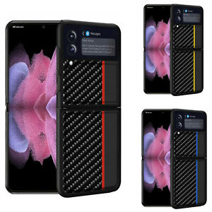 For Samsung Galaxy Z Flip3 Phone Case Carbon Fiber Pattern Color-Blocking Cover
