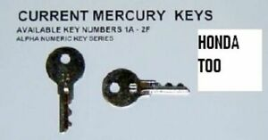 NOS Mercury keys outboard boat Pre-Cut replacement key #s 130 & 1B-2F NEW