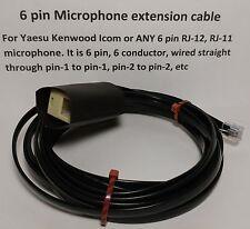 MICROPHONE EXTENSION CABLE 6 PIN RJ12 RJ-12 MODULAR YAESU FT8800, etc 18 feet
