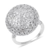 1.00 tcw. Simulated Diamond Globe Ring in Silvertone Size 8.0