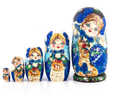 Blue Nesting Dolls Matryoshka Made in Russia Hand Painted Russian Doll. Ladybugs