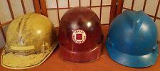 New listing 3 Vintage Saftey Msa Jackson Skullgard V-Gard Fiberglass Hardhat Helmet Med Lot