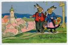 Fritz BAUMGARTEN . Lapins humanisés. Rabbits. PAQUES. EASTER. FROHE OSTERN