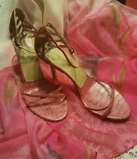 "KENNETH COLE NEW YORK ♡ WOMEN'S PINK SNAKE SKIN LEATHER ♡  3 1/2"" HEELS ♡ SIZE 9"