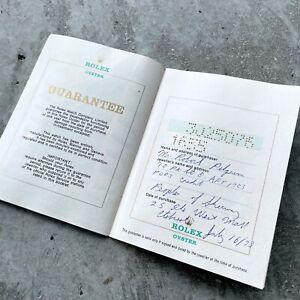 1973 Rolex Original Warranty Papers booklet paper 1655 Explorer II Steve McQueen