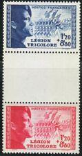 France 1942 MNH Mi 576-577 Sc B147-B148 vertical pair Tricolor Legion ** LUXUS