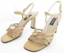 NEXT SIZE 6 WOMENS SATIN BEIGE STRAPPY ANKLE STRAPS DIAMANTE SANDALS HEELS SHOES