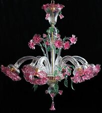 LAMPADARIO 6 LUCI VETRO DI MURANO - FLOWER