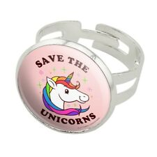 Save the Unicorns Rainbow Funny Humor Silver Plated Adjustable Novelty Ring
