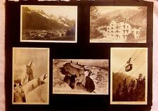 CHAMONIX MONT BLANC LOT OF 6 POSTCARDS MT SKIING HOTEL 1920'S GLUED TO PAPER