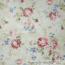 BonEful Fabric FQ Cotton Quilt Cream Pink Ribbon Rose Flower Cottage Shabby Chic