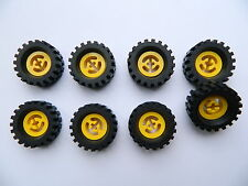 LEGO TECHNIC vintage WHEELS YELLOW set of 8 Tire + Wheel 30 x 10.5 mm large tyre