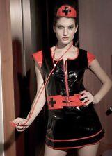 Dominatrix Naughty nurse Sexy Black Vinyl Gothic Halloween Costume 8286