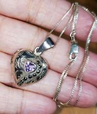 925 Sterling Silver Amethyst Heart & Marcasite Locket Pendant!