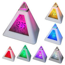 7 LED Colour Digital LCD Pyramid Alarm Clock Calendar Date Time Thermometer