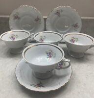 Wawel Porcelain Rose Garden pattern Gold Trim, Polland, 4-tea cups, 3-saucers