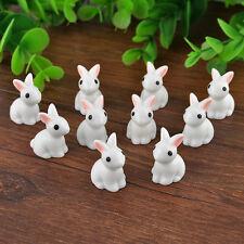 10 Miniature Cute Rabbits Fairy Garden Terrarium Figurine Decor DIY Bonsai Craft