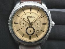 New Old Stock-FOSSIL MACHINE FS5170-Amber Tinted Dial Dk Brown Leather Men Watch