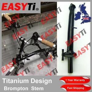 EasyTi Titanium Ti Quill Stem 25.4mm for Brompton Folding Bike-M Type Black Stem