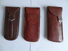 Trois étuis à lunettes Vintage en cuir, années 1950
