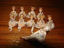 9 Ballerina Hanging Christmas Ornaments + Bonus 10pc White with Gold Trim