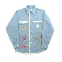 "VTG 70s Big Mac Men Large 41"" L/S Button Chambray Shirt Homemade Embroidered"