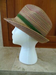 Four Buttons SAN DIEGO HAT COMPANY Collection Colorful Straw Hat O/S One Size