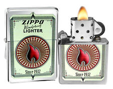 Zippo Lighter 28831 Calling Card Flame Brushed Chrome Windproof Classic New