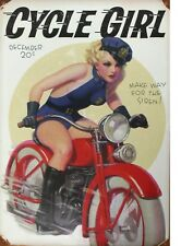 "TIN SIGN ""Cycle Girl Beauty"" Pinup Motorcycle Babe Garage Wall Decor"