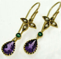 E152 Genuine 9K Yellow Gold Natural Amethyst Emerald Pearl Earrings Suffragette