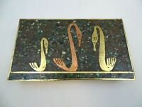 Malachite And Brass Box With Brass And Copper Swans With Rosewood Interior