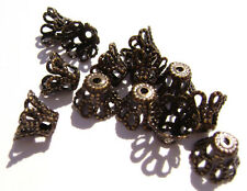 A1191FN Bead Cap Antiqued Brass 7mm Bell Basket Filigree for 7-9mm bead 100 Qty