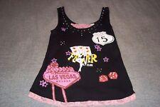 Las Vegas Fever Club Tank Top T-Shirt Pink Lace Trim Womans Girls petite large