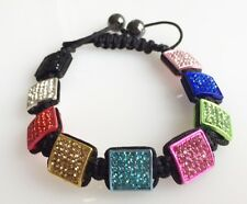 SHAMBALLA MULTICOLOUR PAVE CRYSTAL 9 SQUARE BEADS MACRAME BRACELET-12mm x 12mm