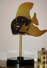 HEAVY LARGE PAINTED FISH SCULPTURE MAITLAND SMITH BLACK LAQUER MID CENTURY