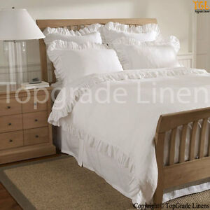 Ruffle Hem King Duvet Cover 1000TC Egyptian Cotton Bedding King Size Pure White